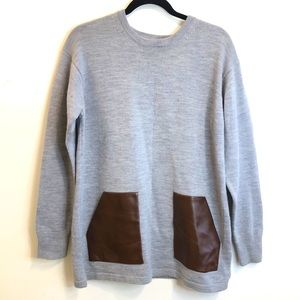 J.Crew Wool Gray Sweater Faux Leather Pockets M